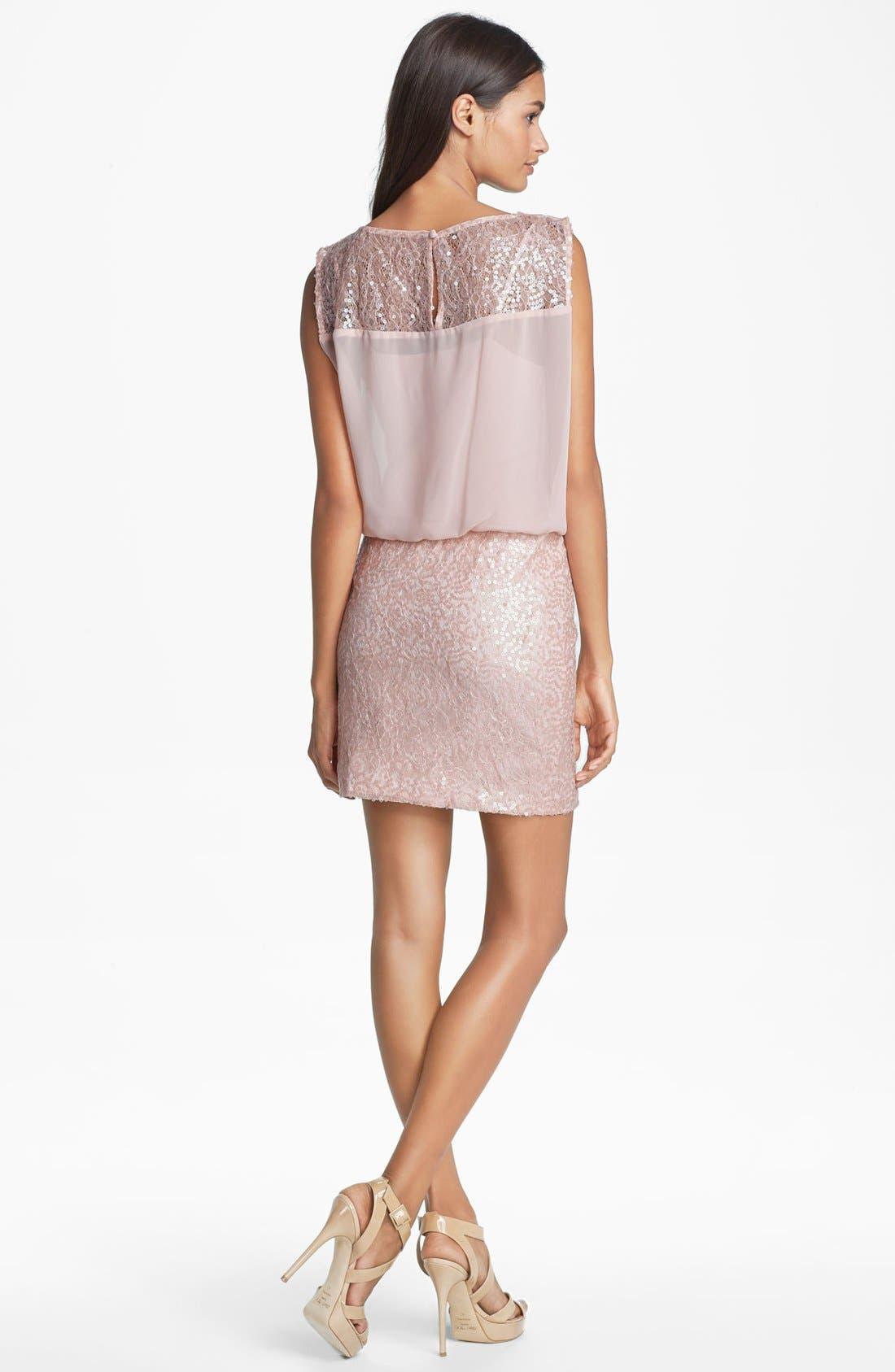 Alternate Image 2  - Aidan Mattox Embellished Lace & Chiffon Blouson Dress (Online Only)