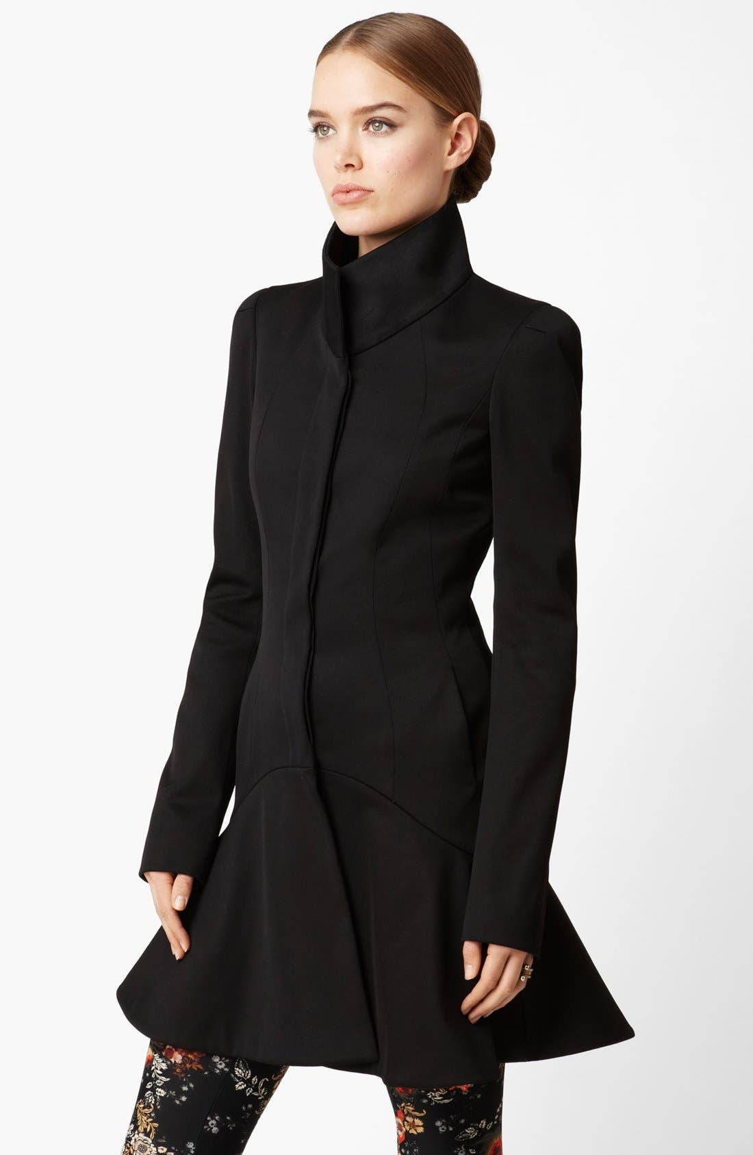 Alternate Image 1 Selected - Alexander McQueen Funnel Neck Stretch Cotton Coat