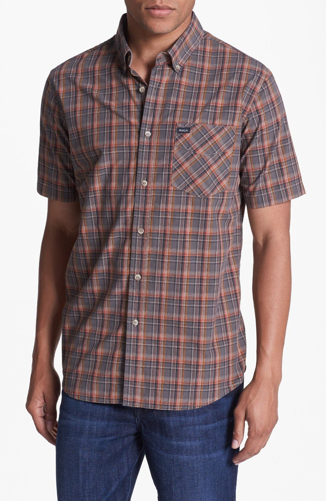 Alternate Image 1 Selected - RVCA 'Sundown' Short Sleeve Plaid Shirt