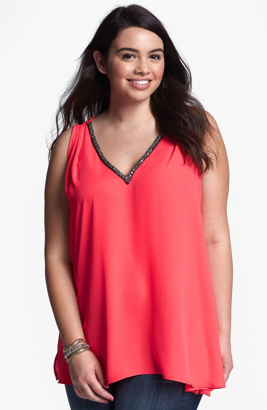 Main Image - Eight Sixty Embellished Sleeveless Blouse (Plus Size)