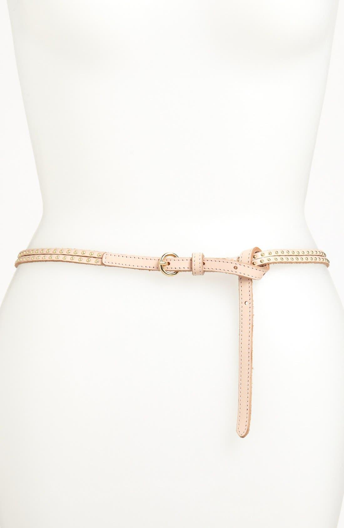 Alternate Image 1 Selected - Tarnish Skinny Stud Double Strap Belt