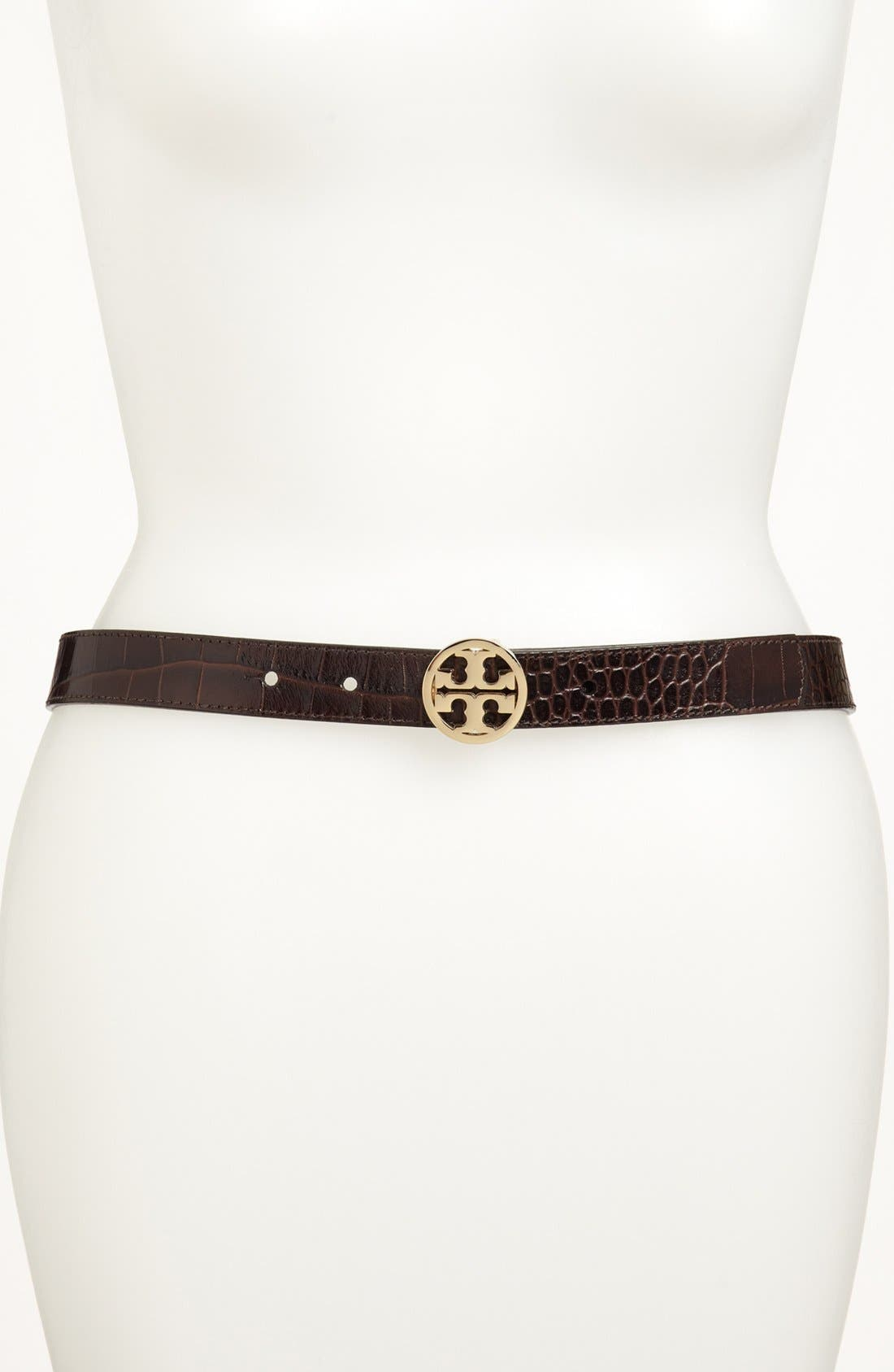 Alternate Image 2  - Tory Burch Croc Embossed Leather Belt