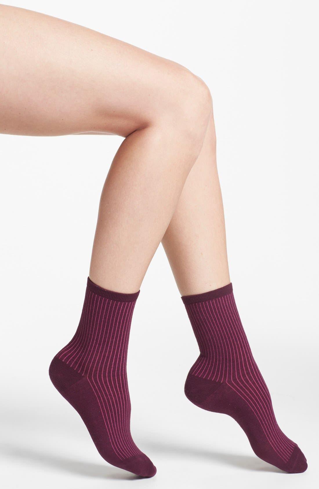 Alternate Image 1 Selected - kensie Contrast Ribbed Socks