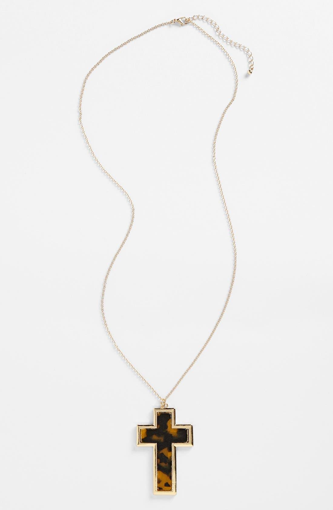Main Image - BP. Cross Pendant Necklace (Juniors)