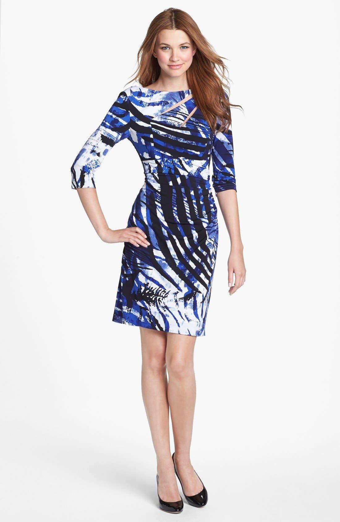 Main Image - Kay Unger Cutout Detail Print Jersey Sheath Dress