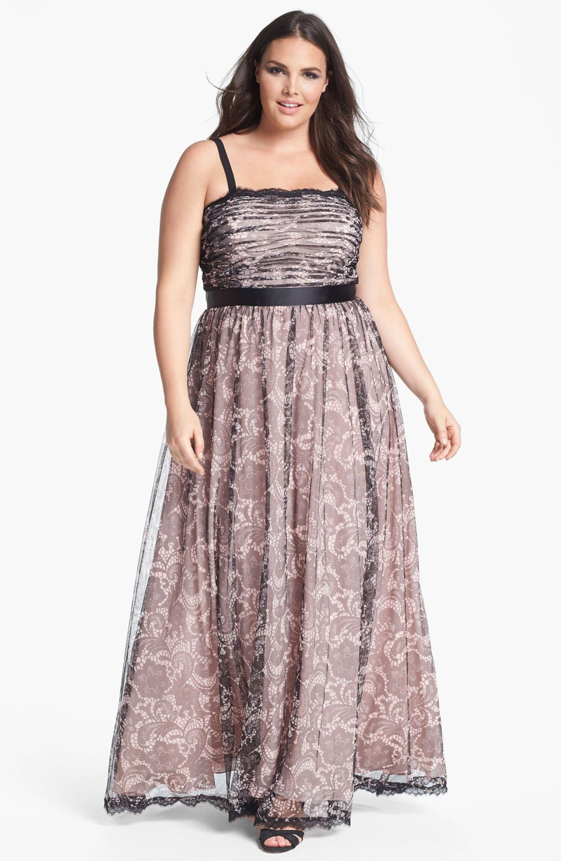 Alternate Image 1 Selected - Adrianna Papell Lace Print Tulle Gown (Plus Size)