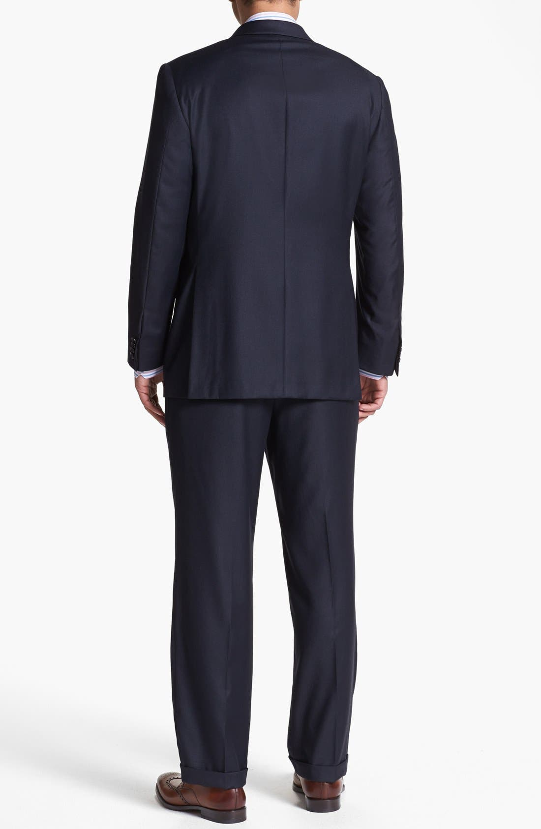 Alternate Image 3  - Hickey Freeman Navy Worsted Wool Suit