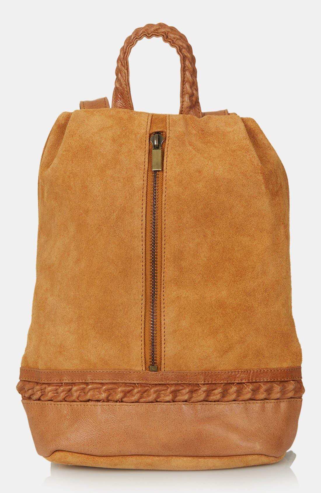 Alternate Image 1 Selected - Topshop Suede Zip Backpack