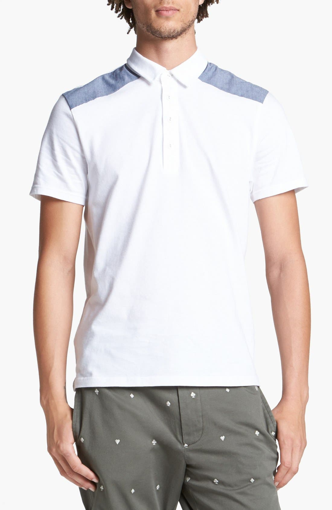 Alternate Image 1 Selected - Topman Chambray Patch Polo
