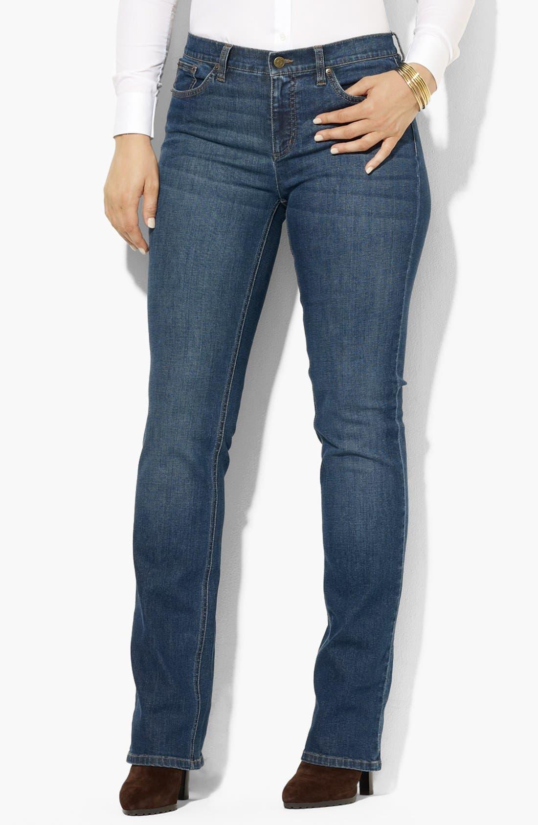 Alternate Image 1 Selected - Lauren Ralph Lauren Straight Leg Jeans (Plus Size)
