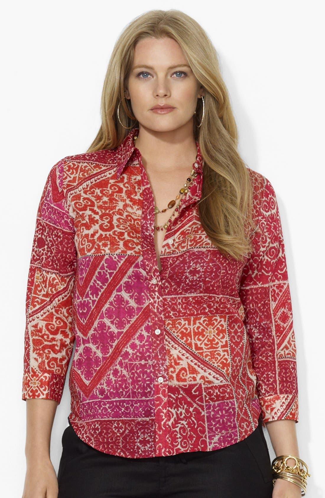 Main Image - Lauren Ralph Lauren Print Cotton Voile Shirt (Plus Size)