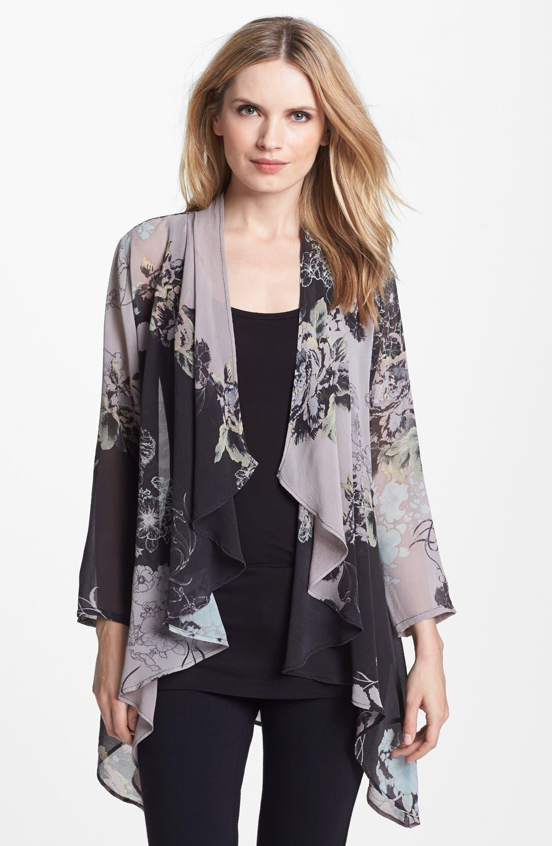 Alternate Image 1 Selected - Citron Drape Front Silk Jacket