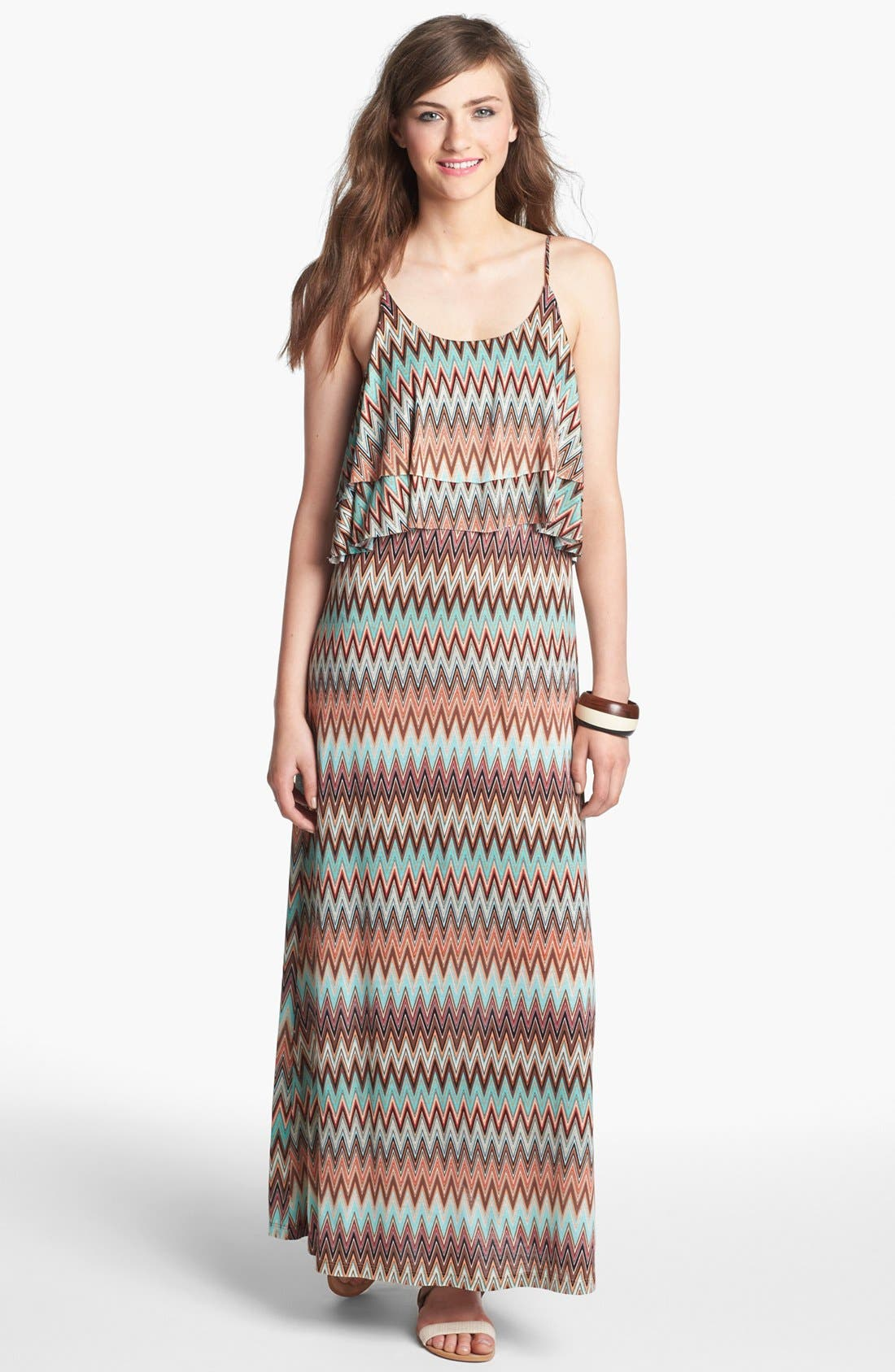 Main Image - Minty Tiered Ruffle Maxi Dress (Juniors) (Online Only)