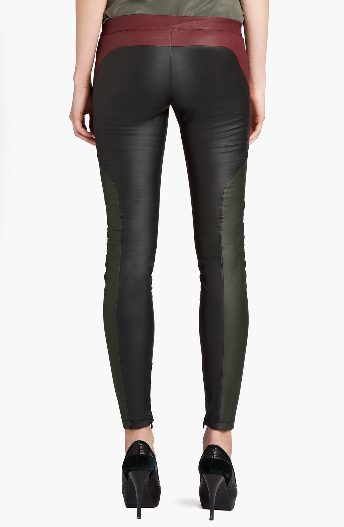Alternate Image 2  - MSGM Tricolor Faux Stretch Leather Leggings