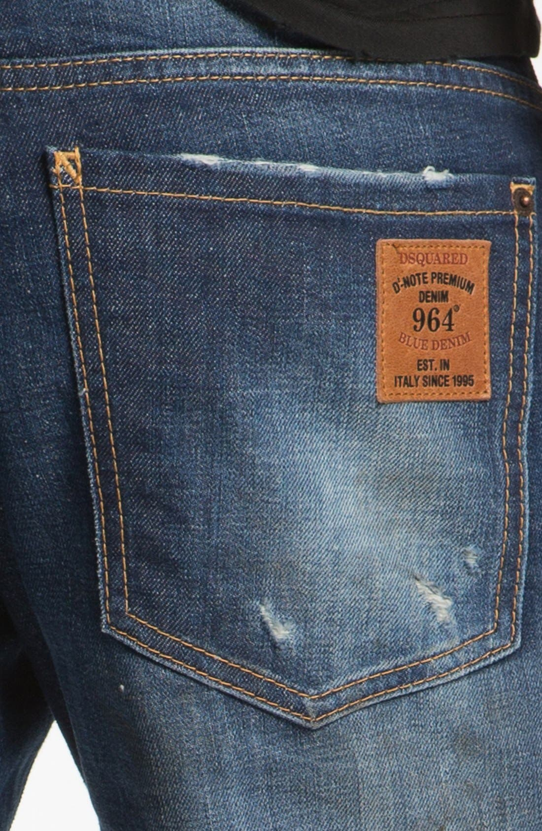 Alternate Image 4  - Dsquared2 'Dean' Narrow Straight Leg Jeans (Blue)
