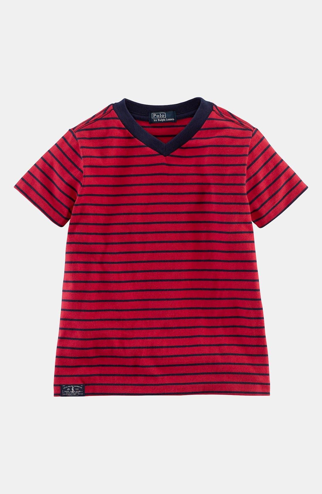 Alternate Image 1 Selected - Ralph Lauren Stripe T-Shirt (Toddler Boys)