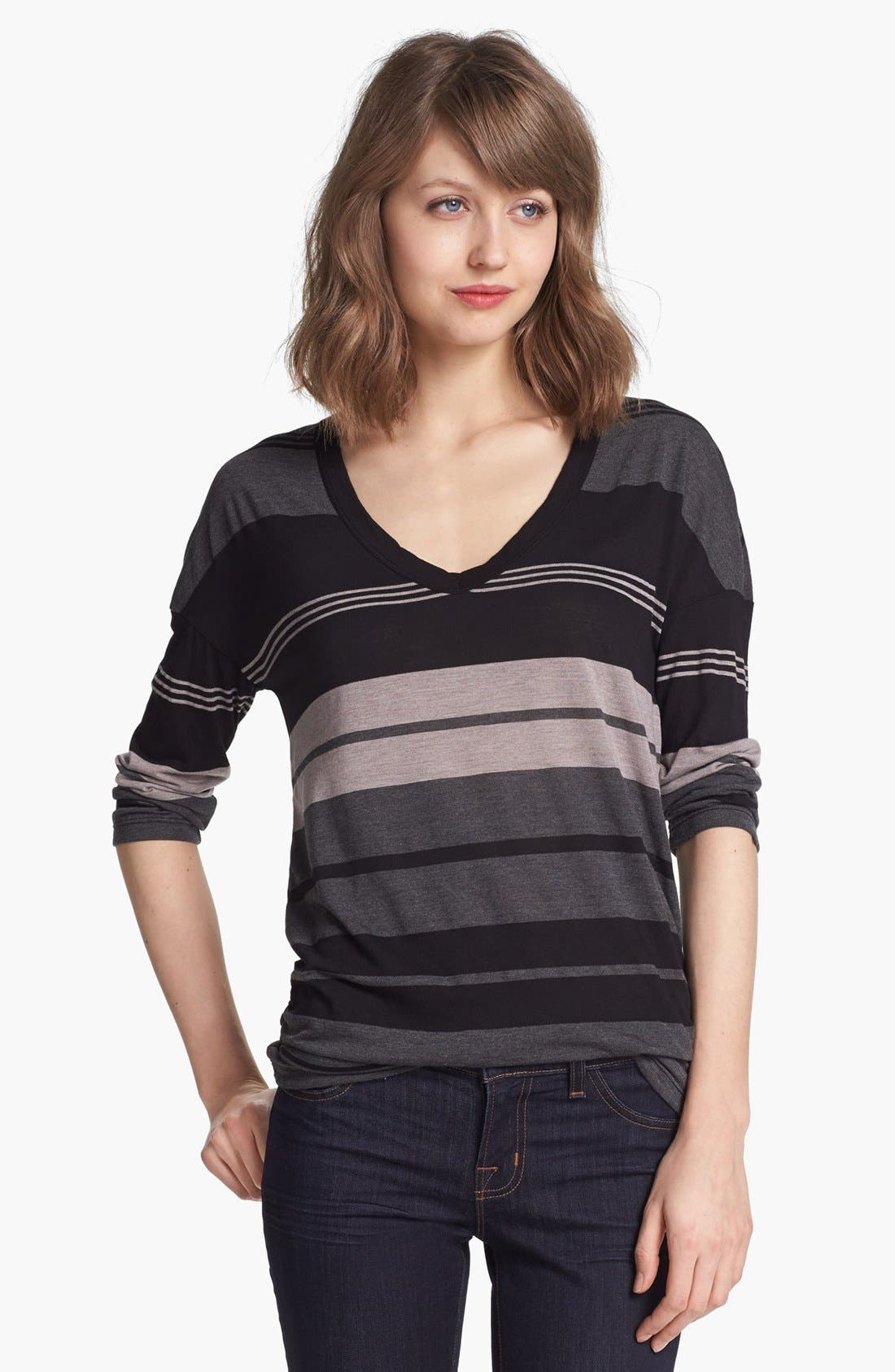 Alternate Image 1 Selected - James Perse Stripe V-Neck Relaxed Fit Top