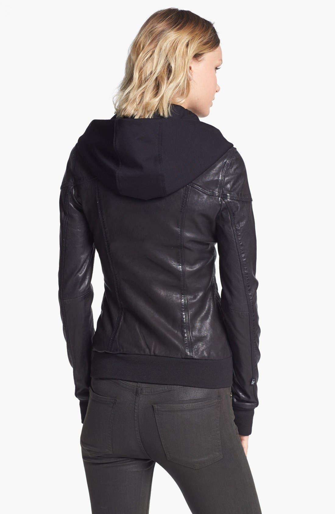 Alternate Image 2  - Soia & Kyo Leather Jacket with Removable Hoodie Liner