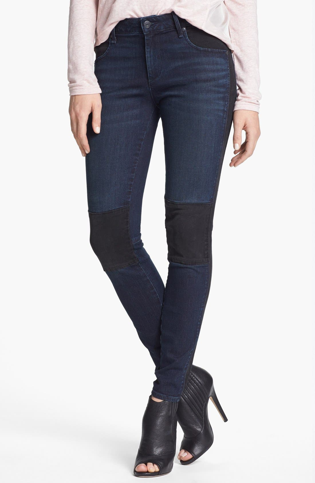 Alternate Image 1 Selected - MARC BY MARC JACOBS Seamed Mixed Media Skinny Stretch Jeans (Tiia)