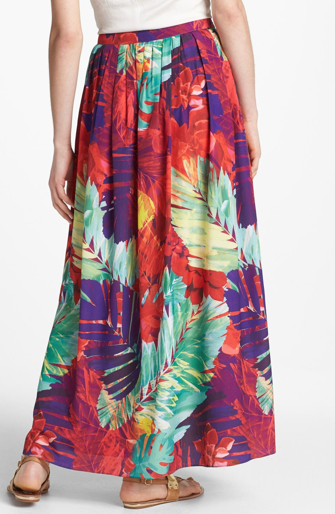 Alternate Image 2  - Vince Camuto Gathered Print Maxi Skirt