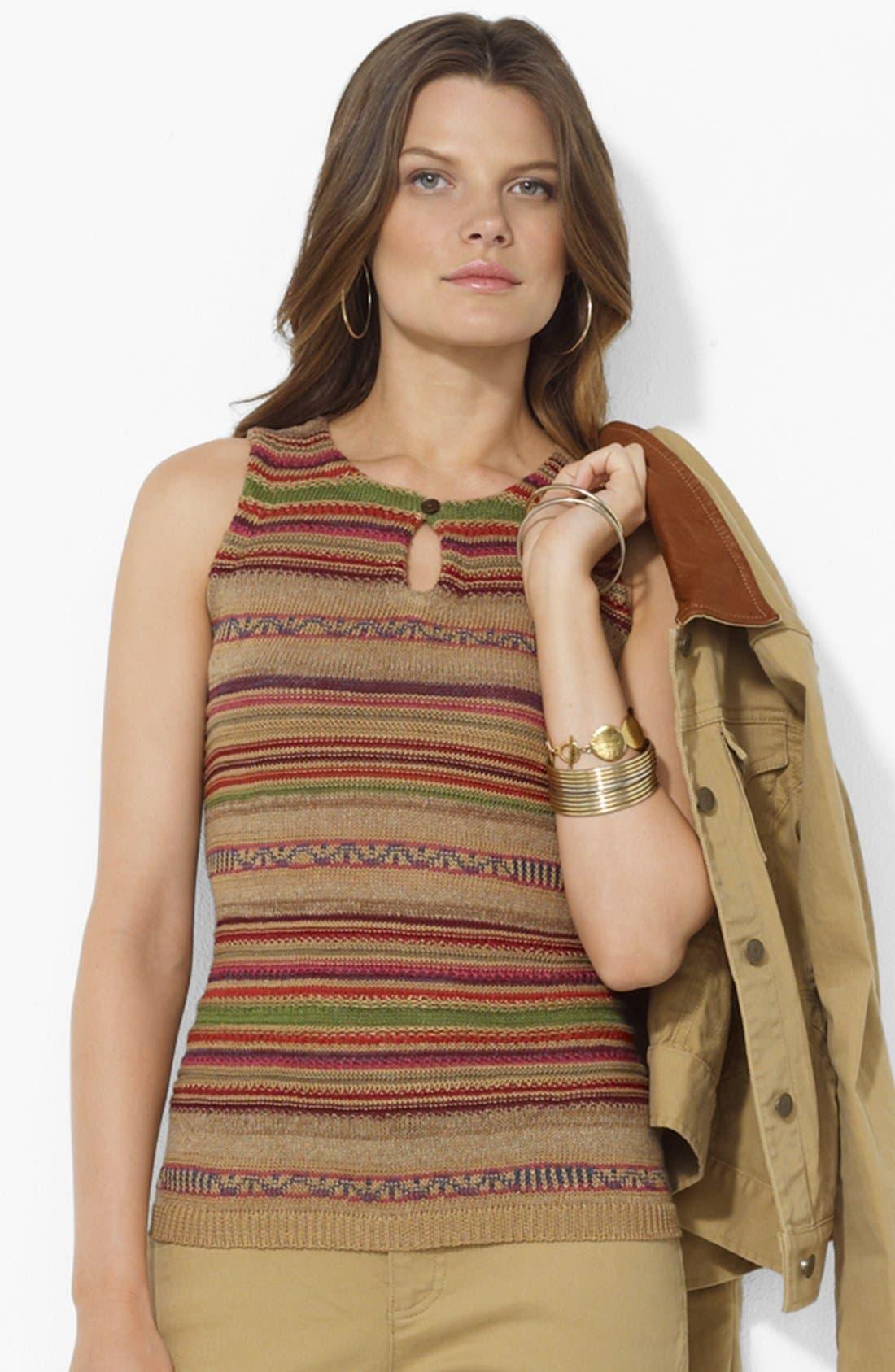 Alternate Image 1 Selected - Lauren Ralph Lauren Stripe Keyhole Sweater (Petite)
