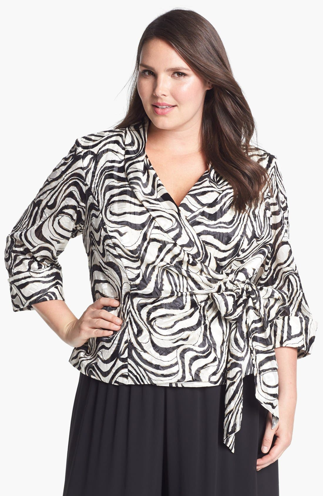 Alternate Image 1 Selected - Alex Evenings Print Wrap Blouse (Plus Size)