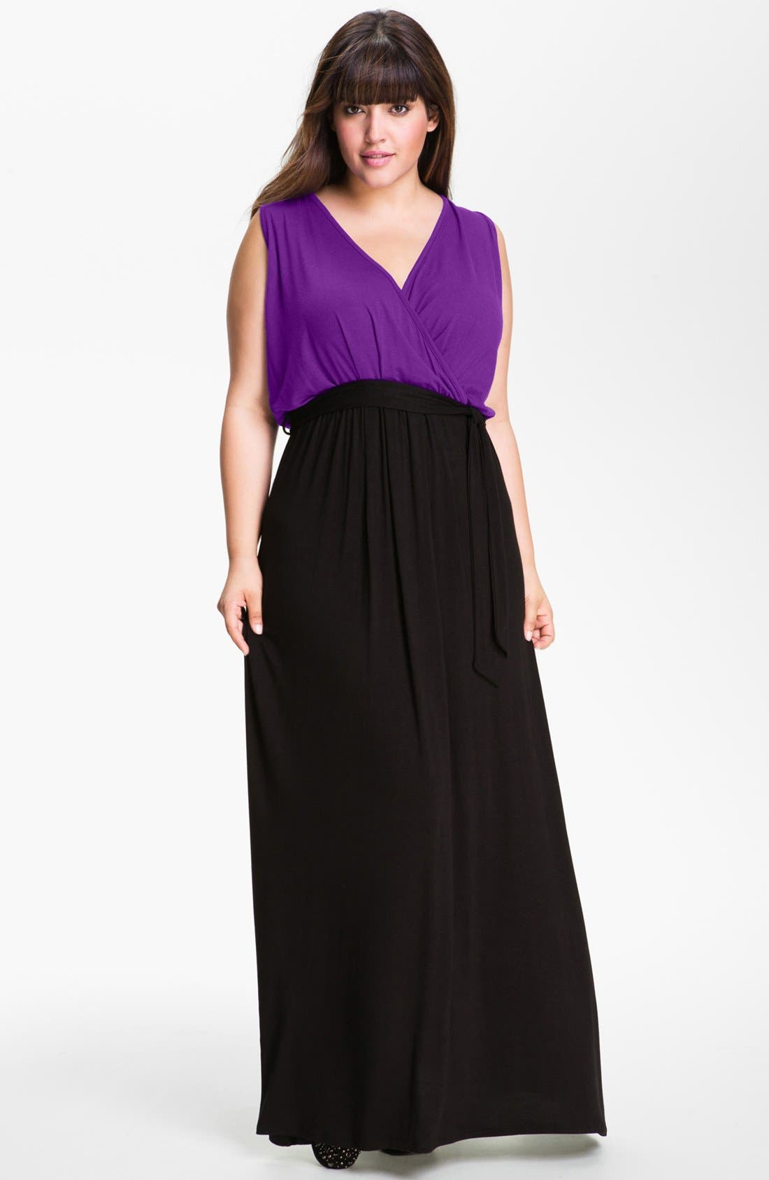 Main Image - Loveappella Surplice Maxi Dress (Plus Size)