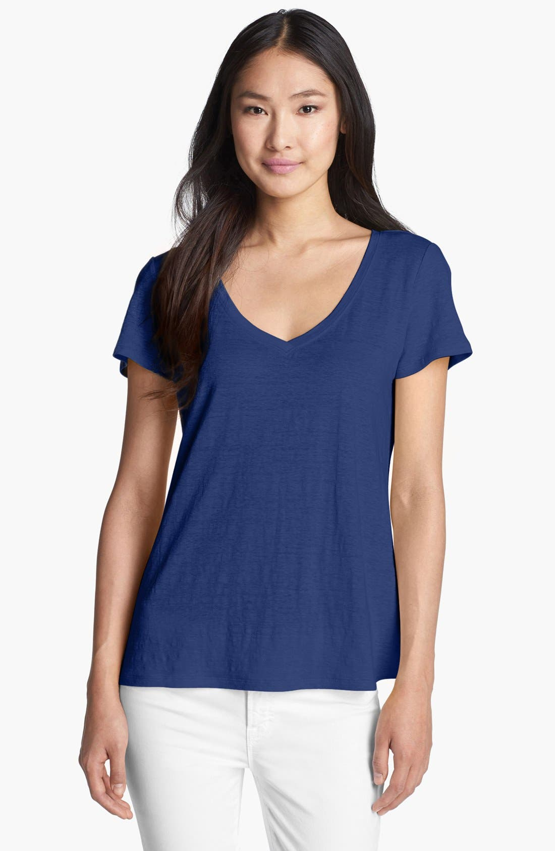 Alternate Image 1 Selected - Eileen Fisher V-Neck Linen Jersey Tee
