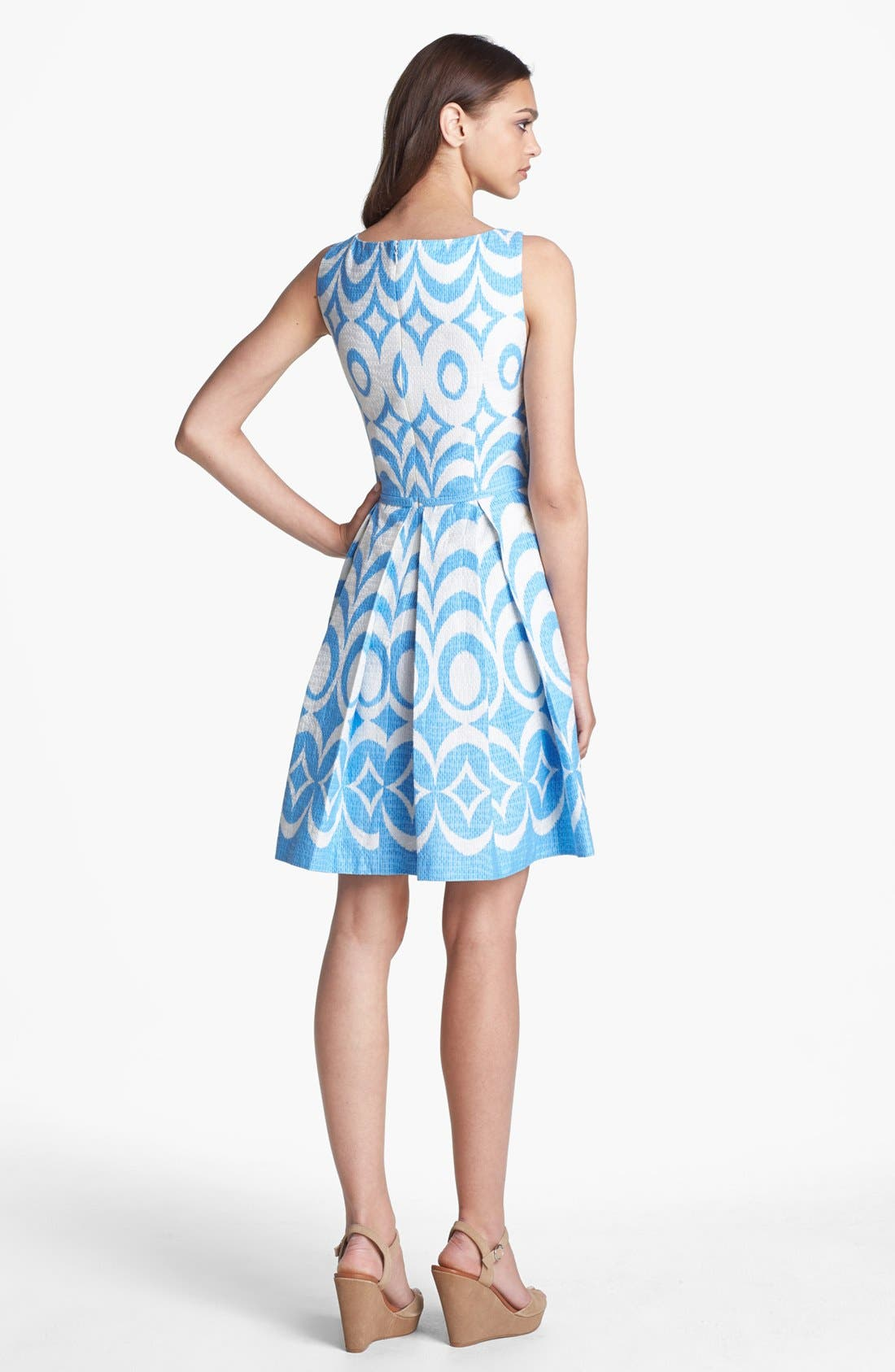 Alternate Image 2  - Taylor Dresses Print Sleeveless Fit & Flare Dress