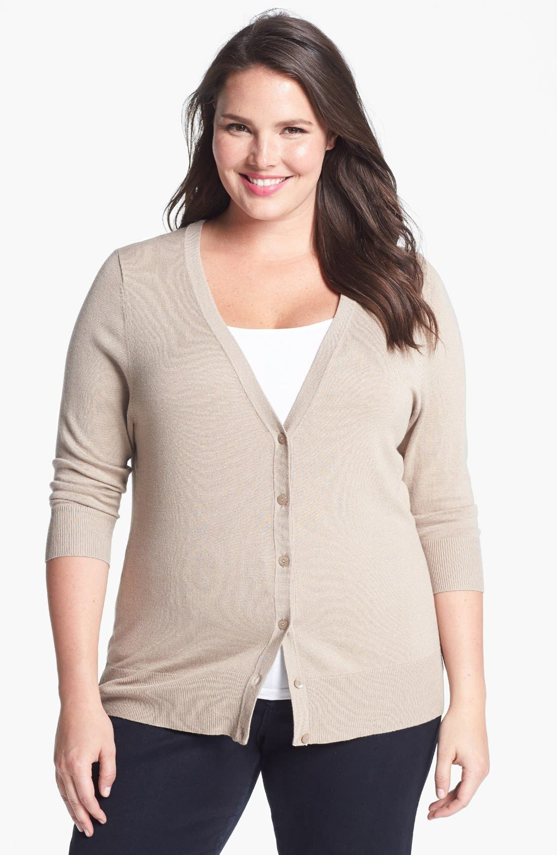Alternate Image 1 Selected - 14th & Union V-Neck Cardigan (Plus Size) (Special Purchase)