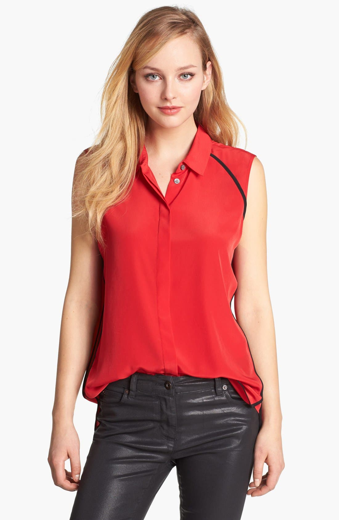 Alternate Image 1 Selected - Vince Camuto Contrast Trim Sleeveless Blouse
