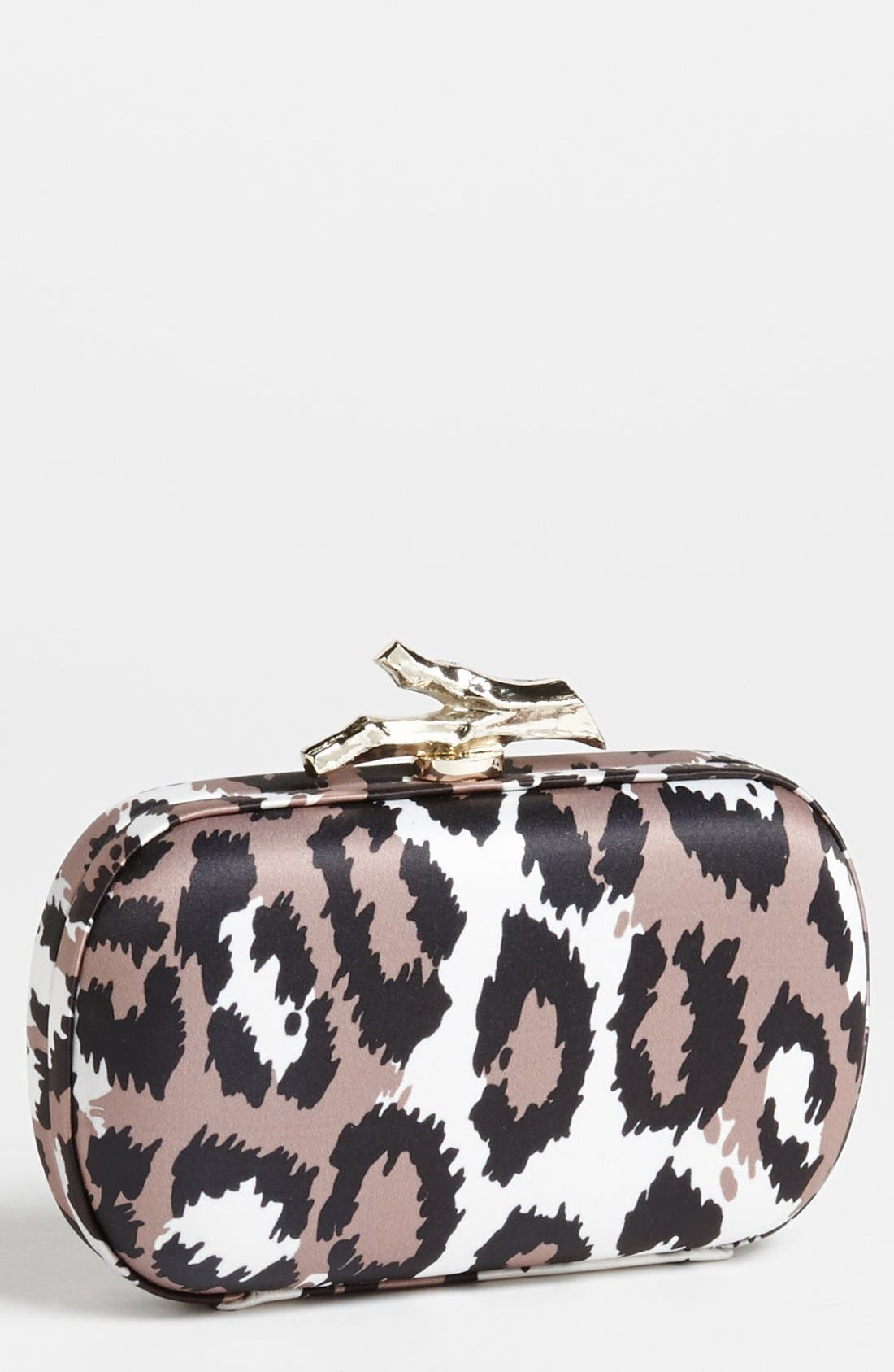 Main Image - Diane von Furstenberg 'Lytton' Leopard Print Satin Clutch