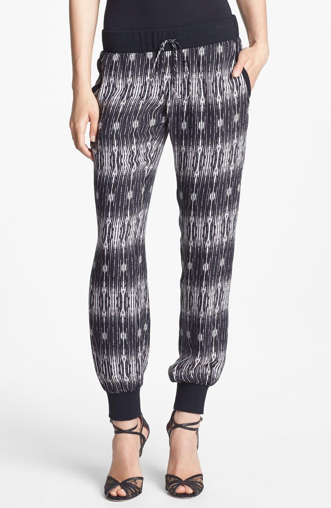 Main Image - Haute Hippie Print Silk Sweatpants