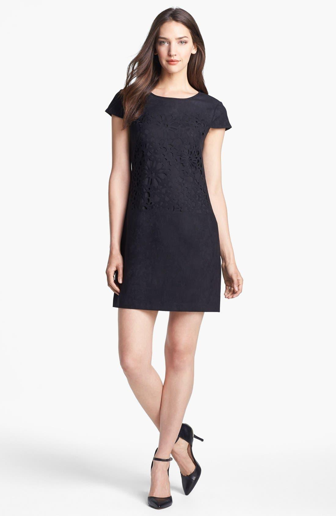 Main Image - Jessica Simpson Laser Cut Faux Suede Shift Dress (Online Only)