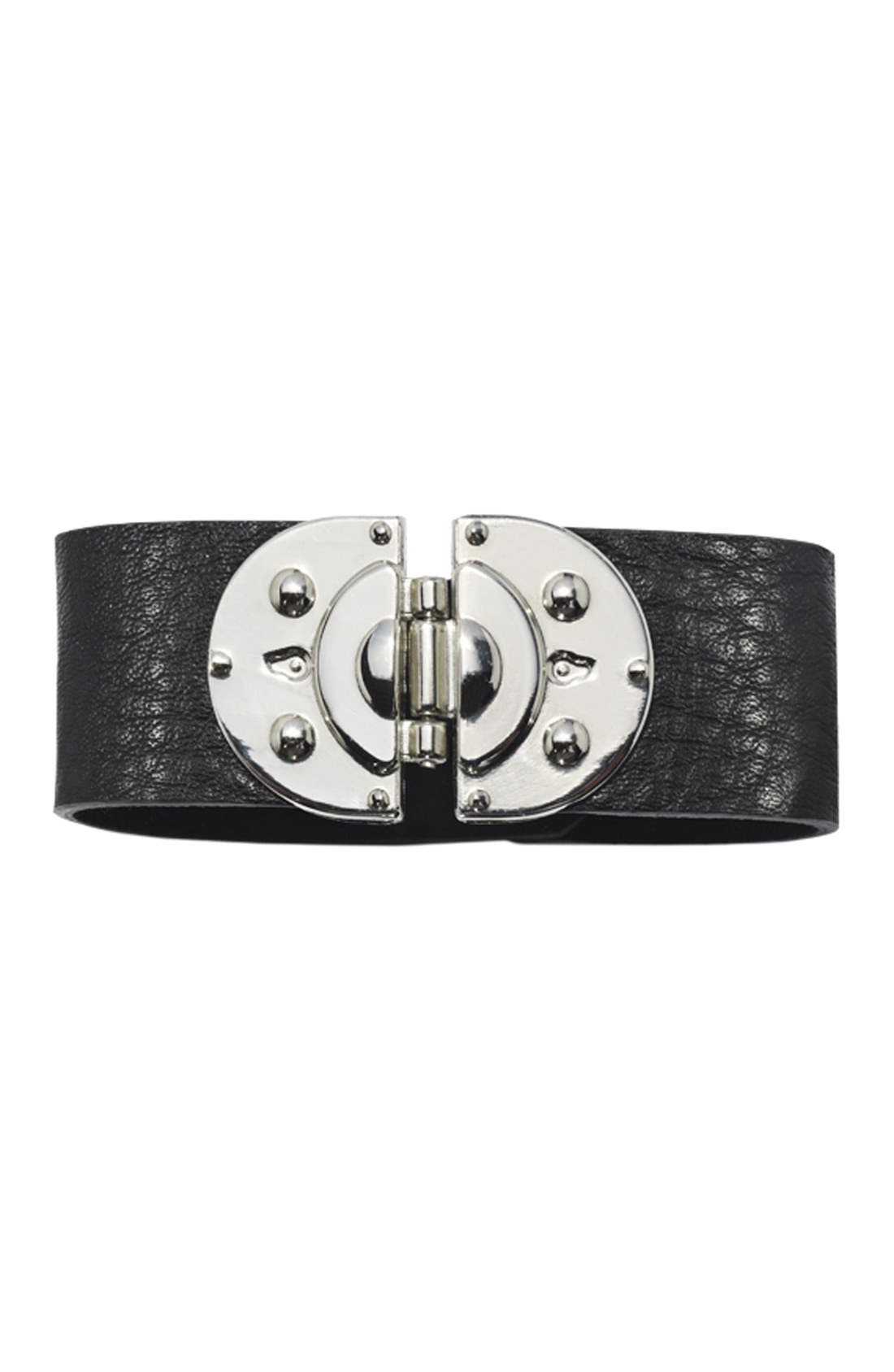 Alternate Image 2  - Cara Hinged Leather Bracelet