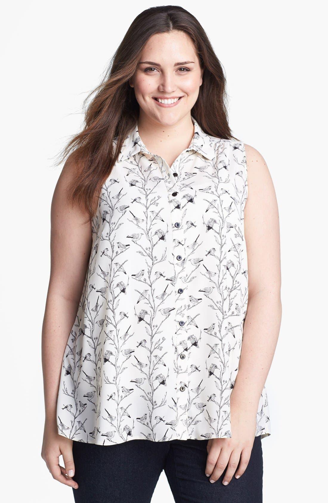 Main Image - Evans Print Sleeveless Blouse (Plus Size)