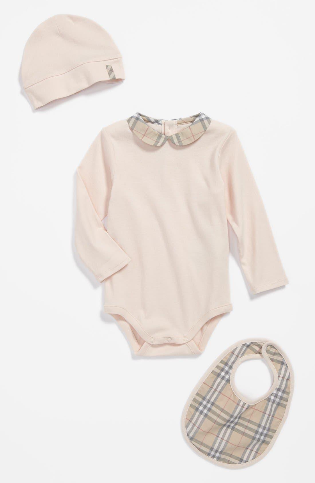 Main Image - Burberry 'Carina' Bodysuit, Bib & Hat (Baby Girls)