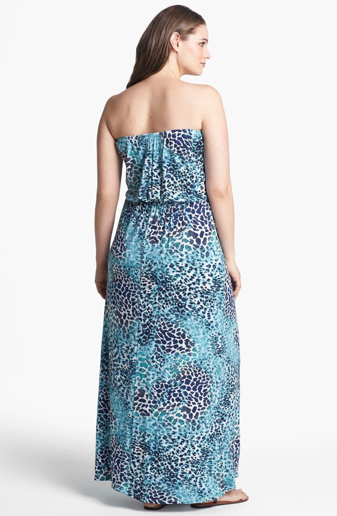 Alternate Image 2  - Loveappella Print Blouson Maxi Dress (Plus Size)