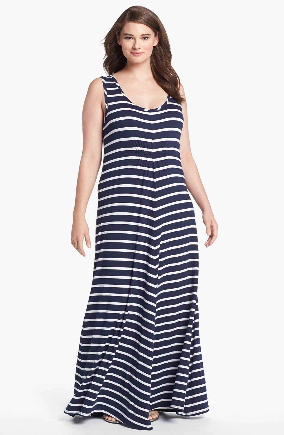 Alternate Image 1 Selected - LAmade Stripe Jersey Maxi Dress (Plus Size)