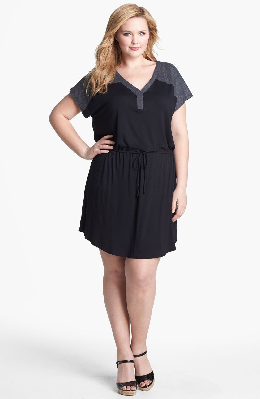 Main Image - Olivia Moon Contrast Yoke Drawstring Dress (Plus Size)