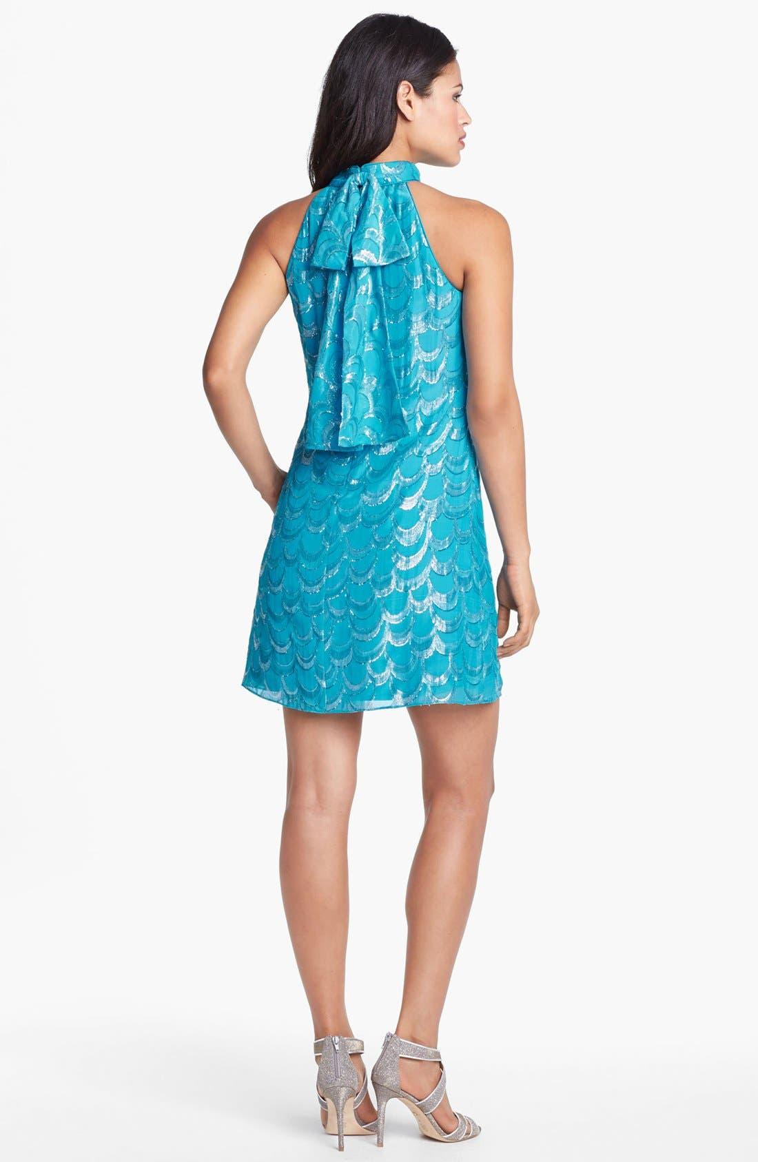 Alternate Image 2  - Laundry by Shelli Segal Metallic Back Bow Trapeze Dress