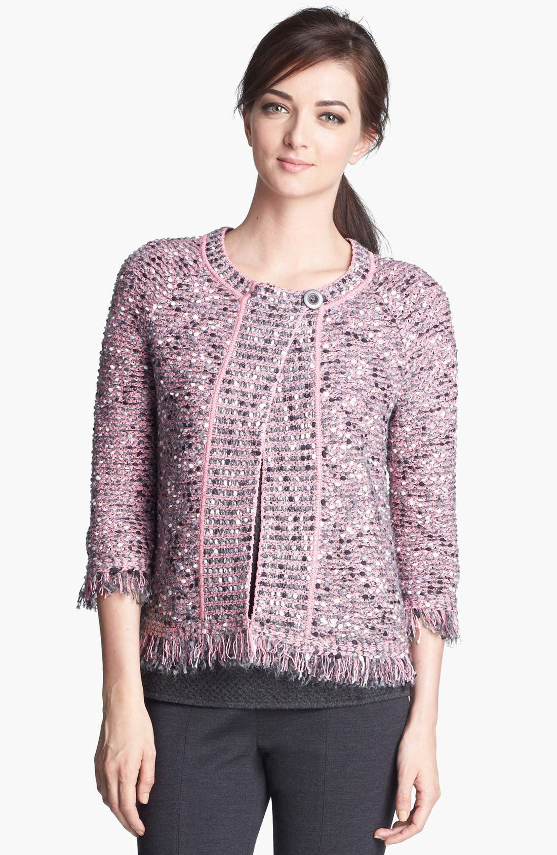 Alternate Image 6  - St. John Collection Abstract Nubby Knit Fringe Jacket