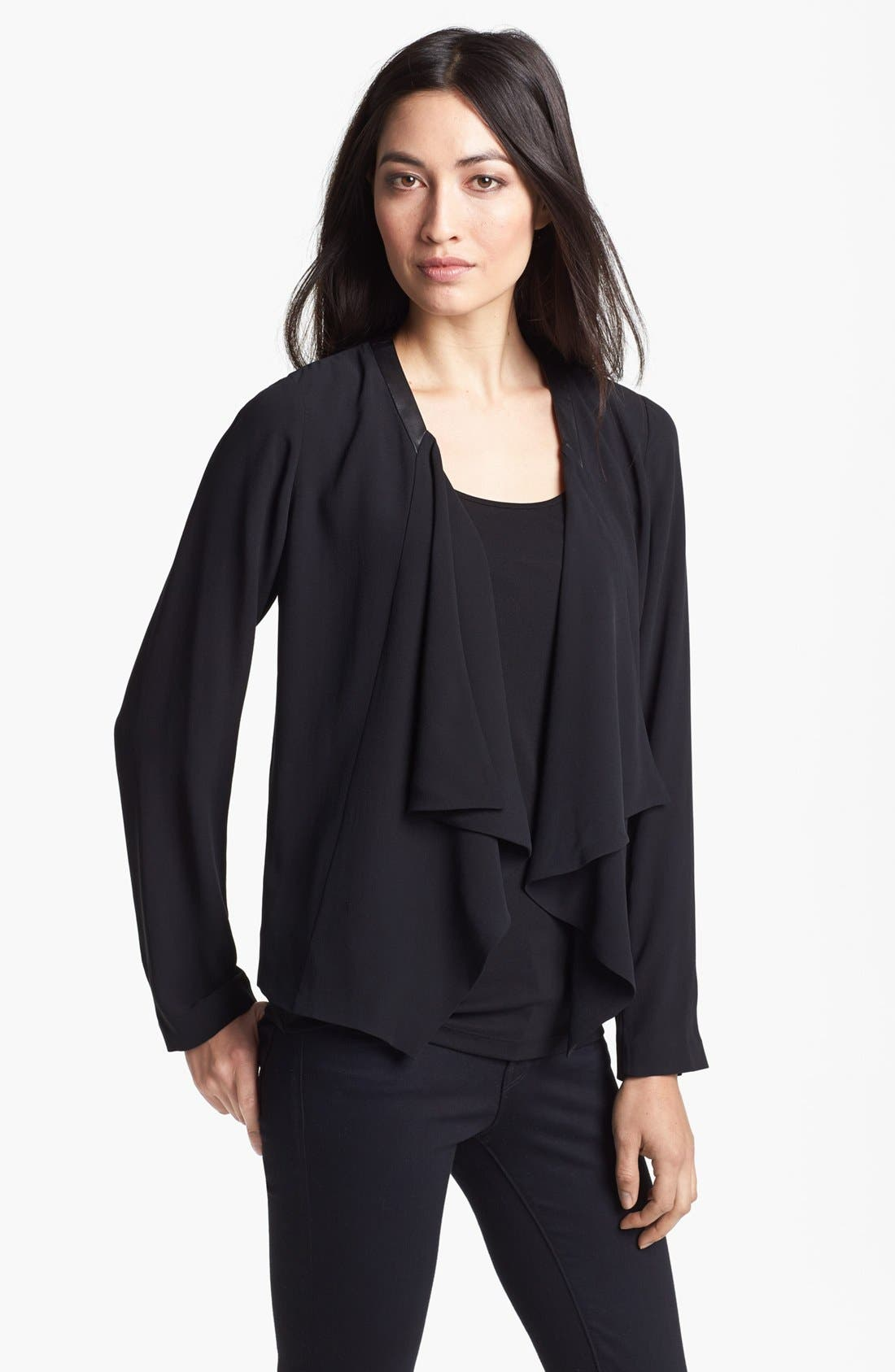 Alternate Image 1 Selected - Eileen Fisher Leather Trim Drape Front Silk Jacket (Regular & Petite)