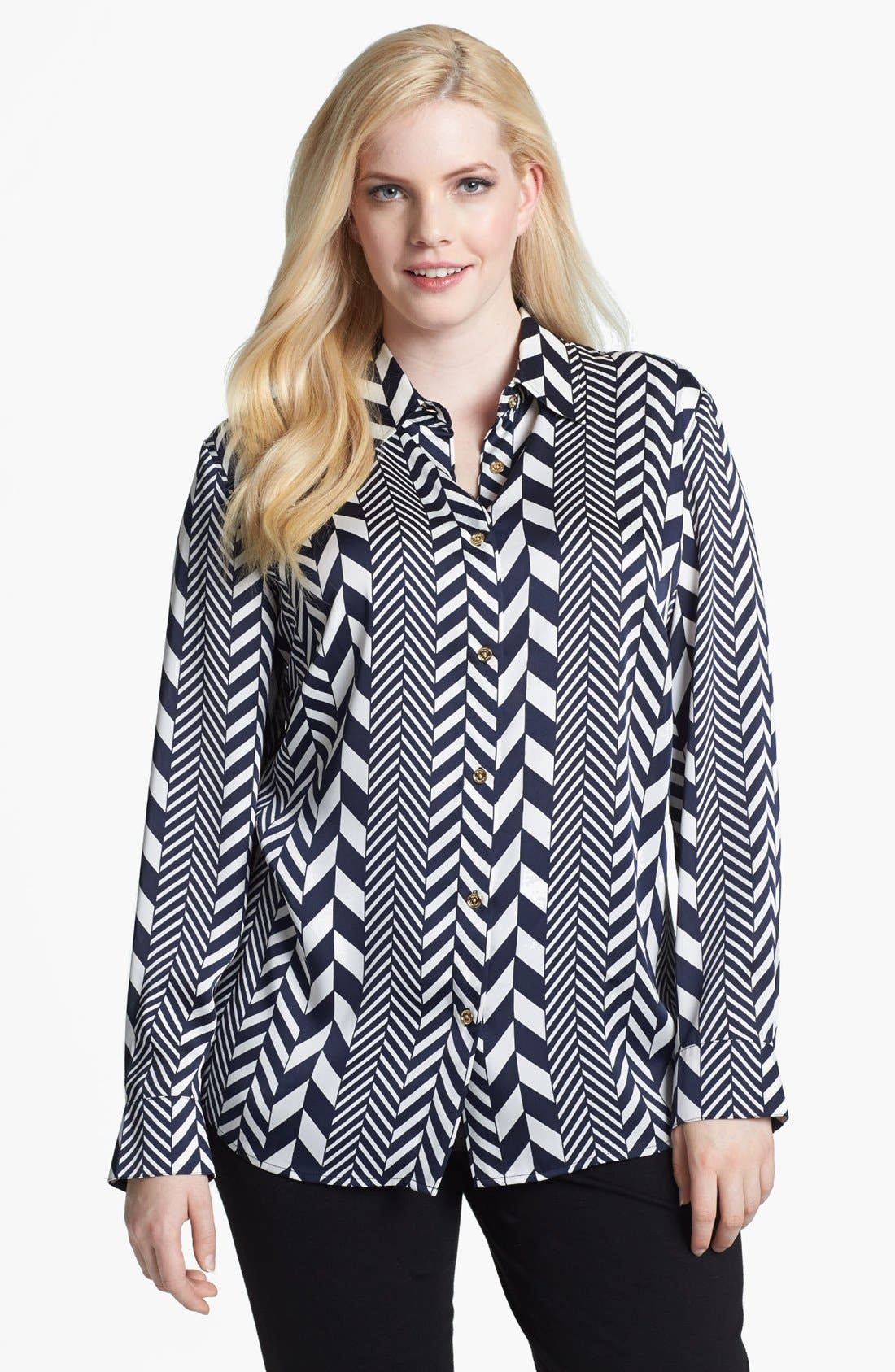 Alternate Image 1 Selected - MICHAEL Michael Kors 'League Stripe' Shirt (Plus Size)