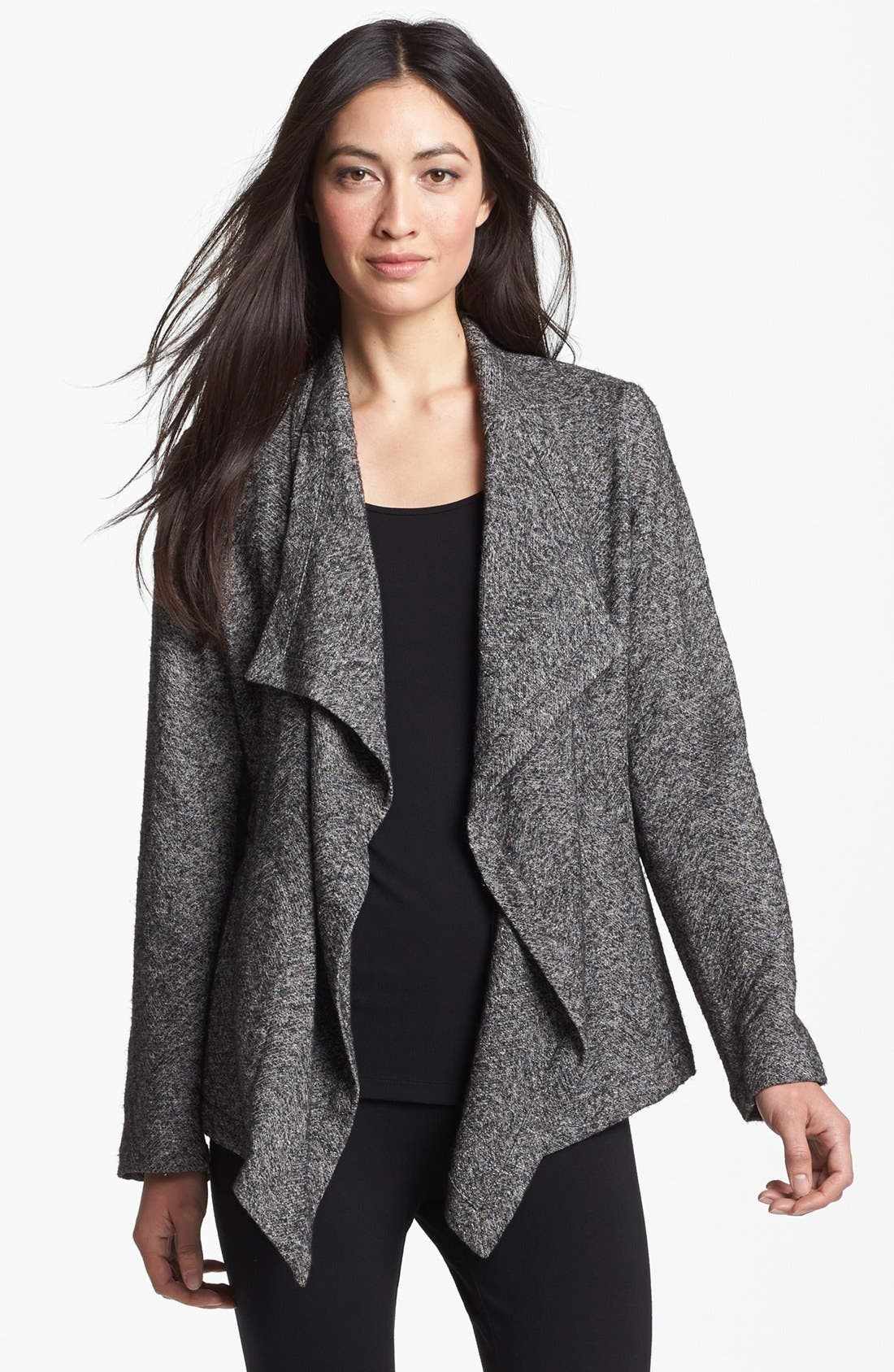 Main Image - Eileen Fisher Drape Front Herringbone Tweed Jacket