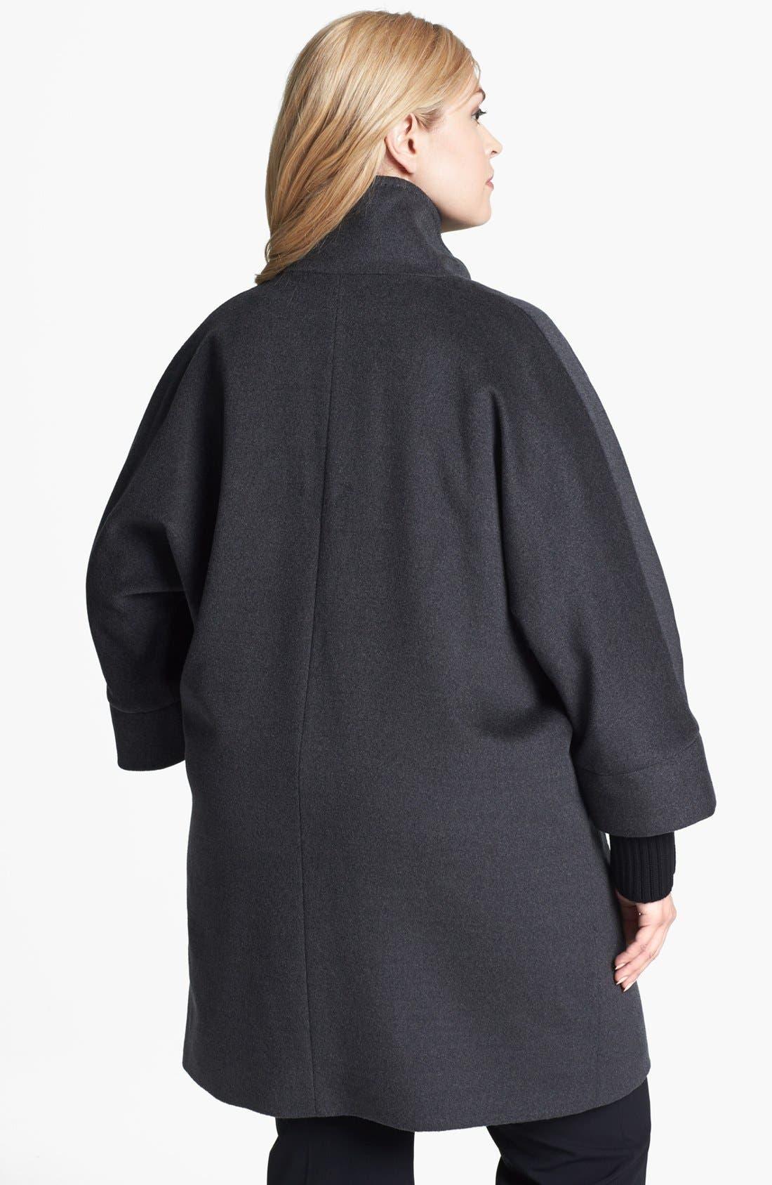 Alternate Image 2  - Cinzia Rocca Knit Cuff Wool Car Coat (Plus Size)