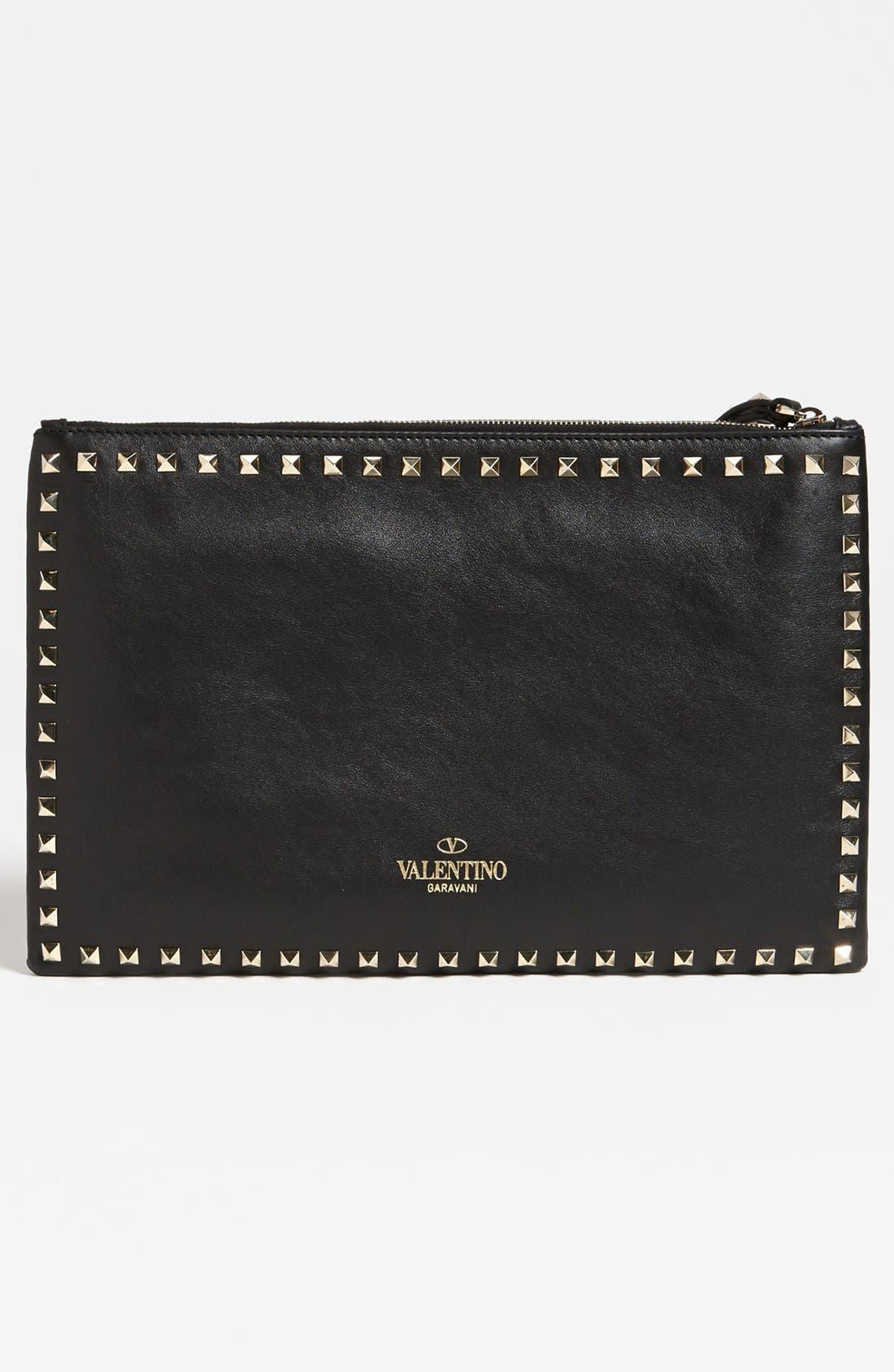 Alternate Image 4  - Valentino 'Rockstud - Flat' Leather Clutch