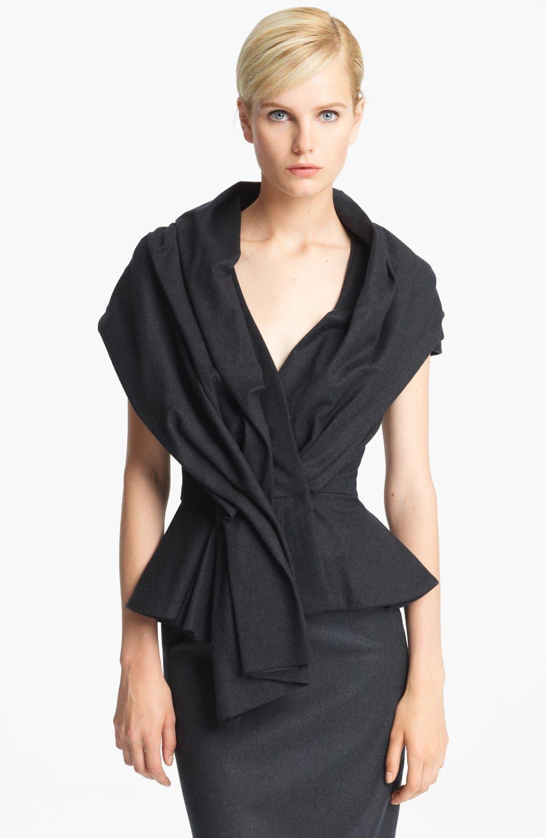 Alternate Image 1 Selected - Oscar de la Renta 'Skyline' Short Sleeve Flannel Jacket