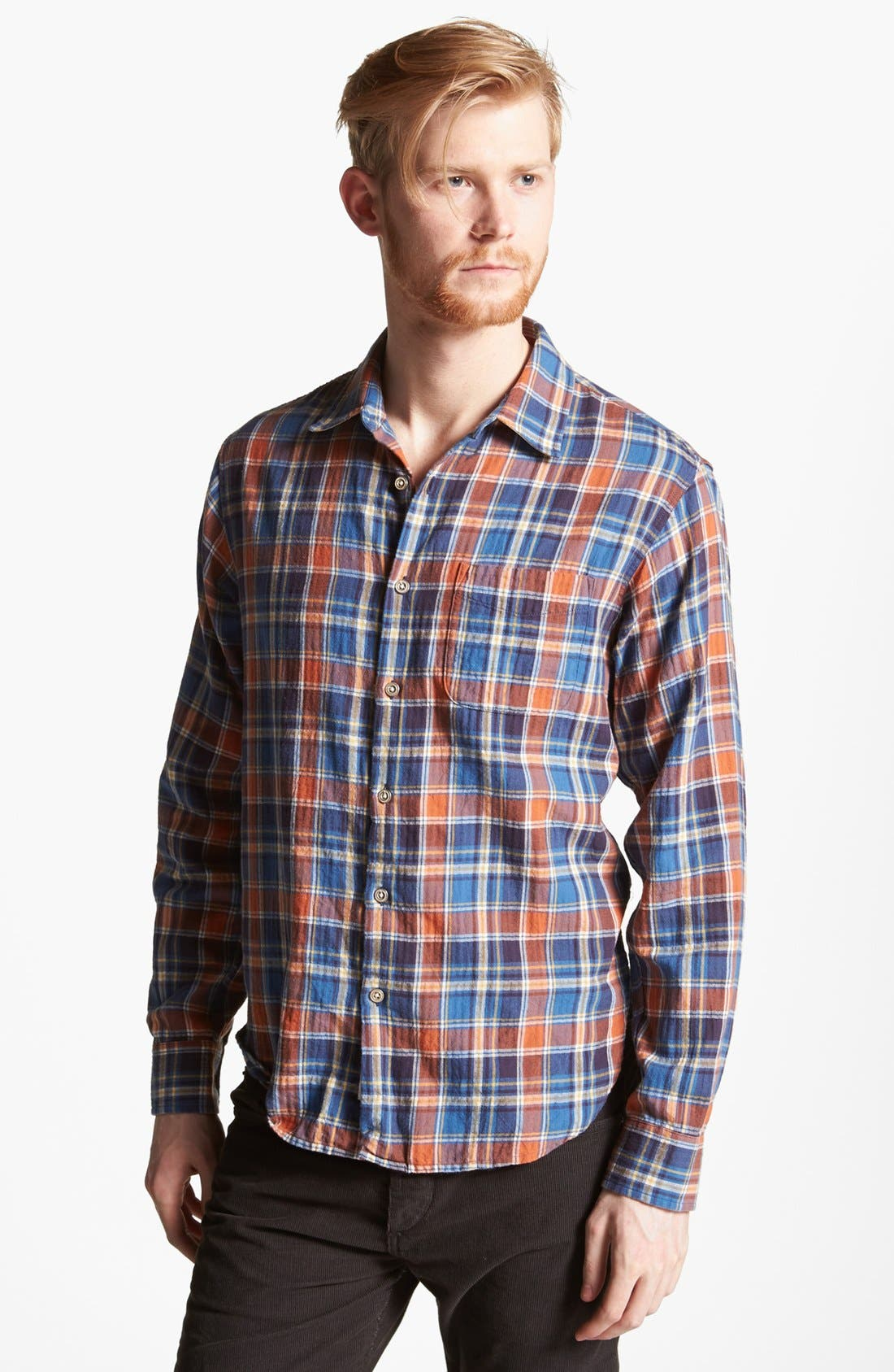 Main Image - rag & bone 'Beach' Herringbone Plaid Woven Shirt