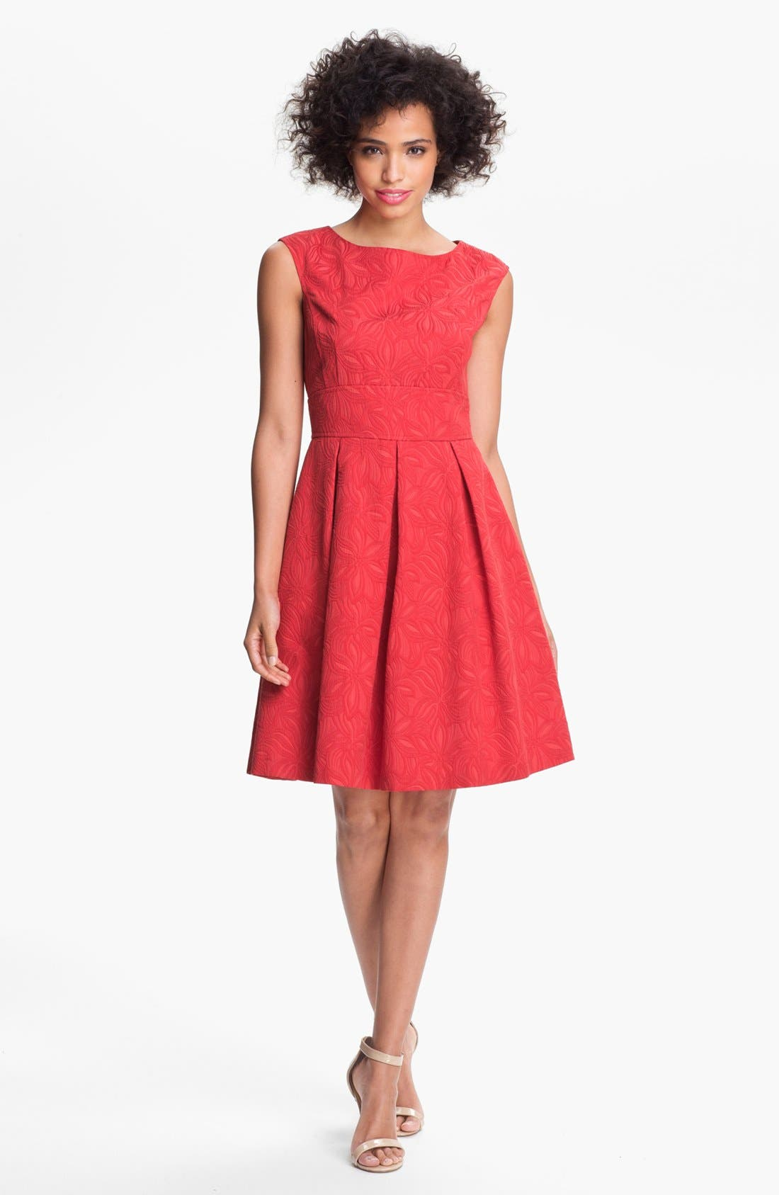 Alternate Image 1 Selected - Adrianna Papell Floral Jacquard Fit & Flare Dress (Petite)